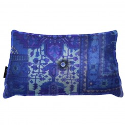 Almofada Envelope Persa Azul FRIZADA com BOTÁO